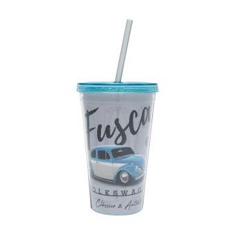 13129_Copo-com-Canudo-Plastico-Authentic-Classic-Fusca-Volkswagen-Cinza-ClaroAzul