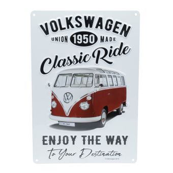 13159_Placa-de-Parede-em-Metal-Recorte-Original-Classic-Ride-32x22-Cm-Kombi-Volkswagen-Branco